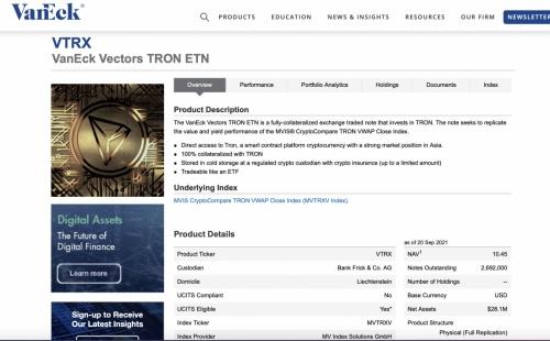 顶级基金管理公司VanEck联合波场发行全球第三支ETN